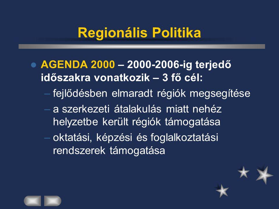 Regionális Politika AGENDA 2000 – 2000-2006-ig terjedő időszakra vonatkozik – 3 fő cél: fejlődésben elmaradt régiók megsegítése.