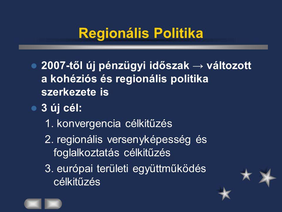 Regionális Politika 2007-től új pénzügyi időszak → változott a kohéziós és regionális politika szerkezete is.