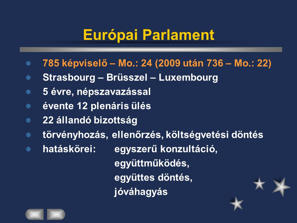 Európai Parlament 785 képviselő – Mo.: 24 (2009 után 736 – Mo.: 22)