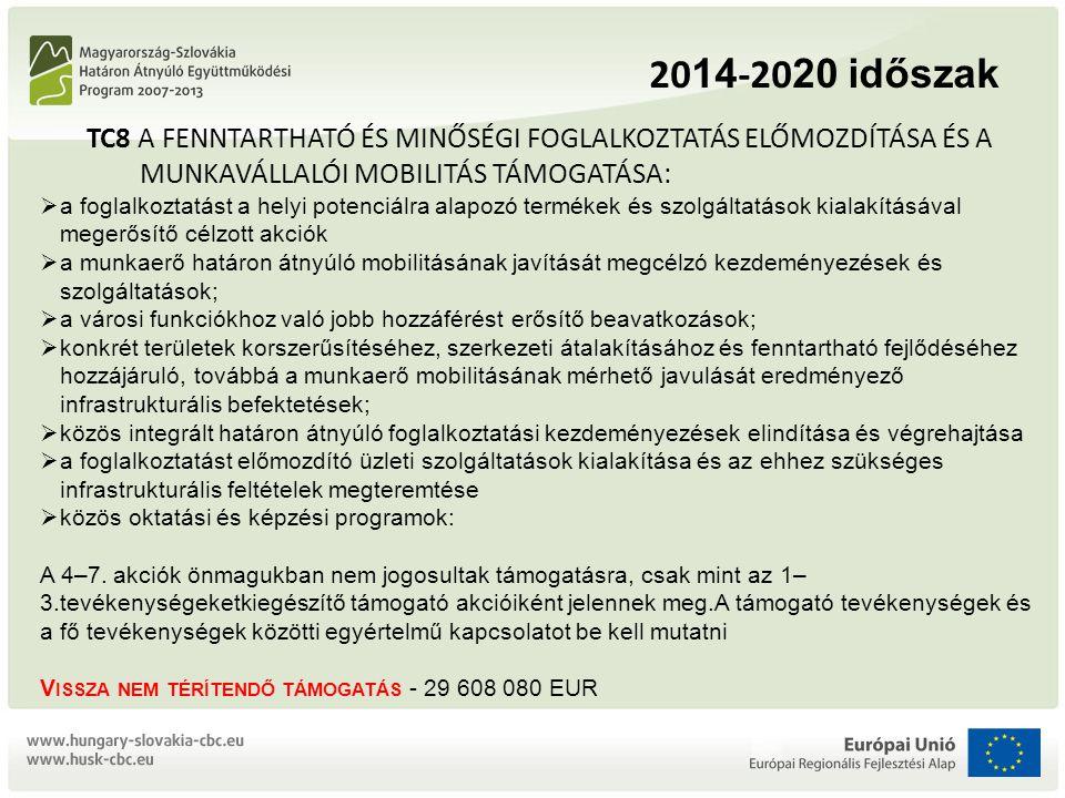 2014-2020 időszak TC8 A FENNTARTHATÓ ÉS MINŐSÉGI FOGLALKOZTATÁS ELŐMOZDÍTÁSA ÉS A MUNKAVÁLLALÓI MOBILITÁS TÁMOGATÁSA: