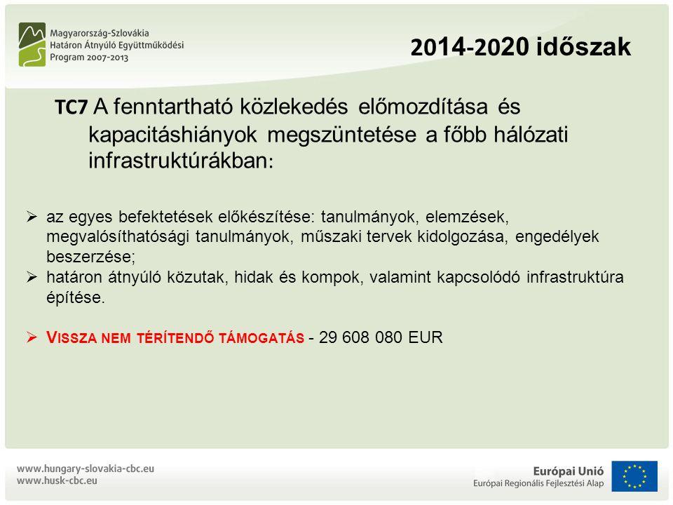 2014-2020 időszak TC7 A fenntartható közlekedés előmozdítása és kapacitáshiányok megszüntetése a főbb hálózati infrastruktúrákban: