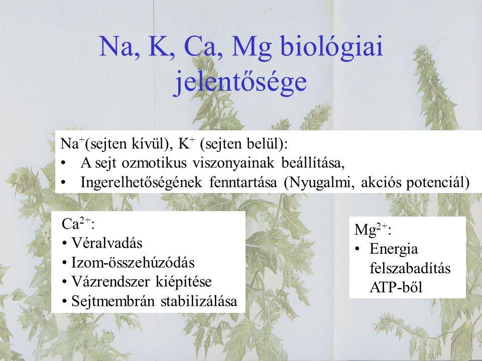 Na, K, Ca, Mg biológiai jelentősége