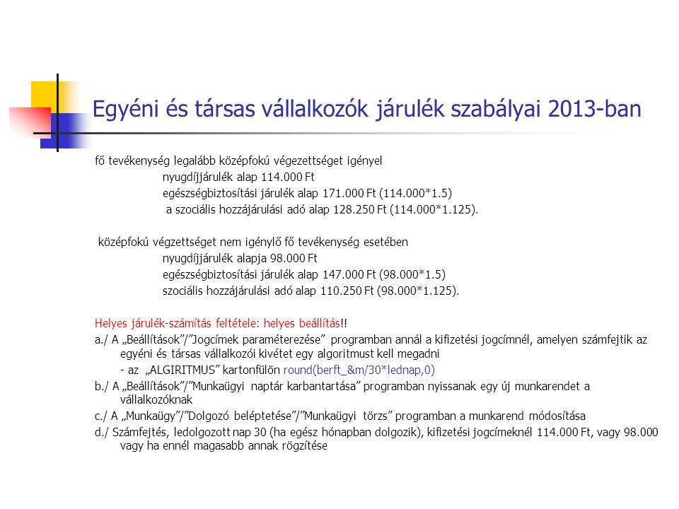 Egyéni és társas vállalkozók járulék szabályai 2013-ban