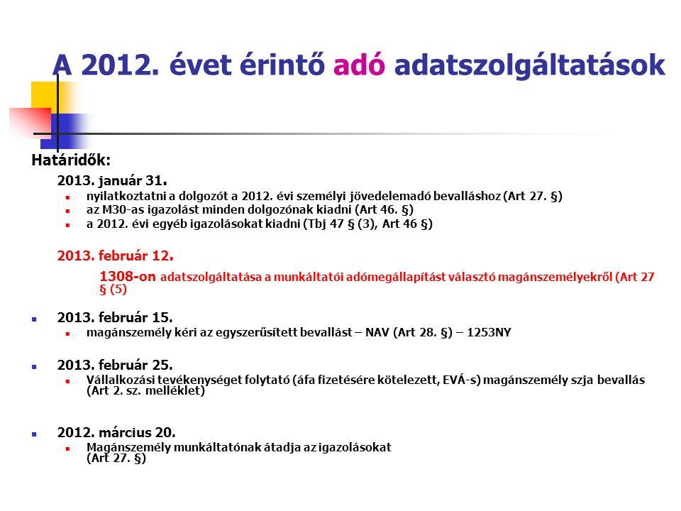 A 2012. évet érintő adó adatszolgáltatások