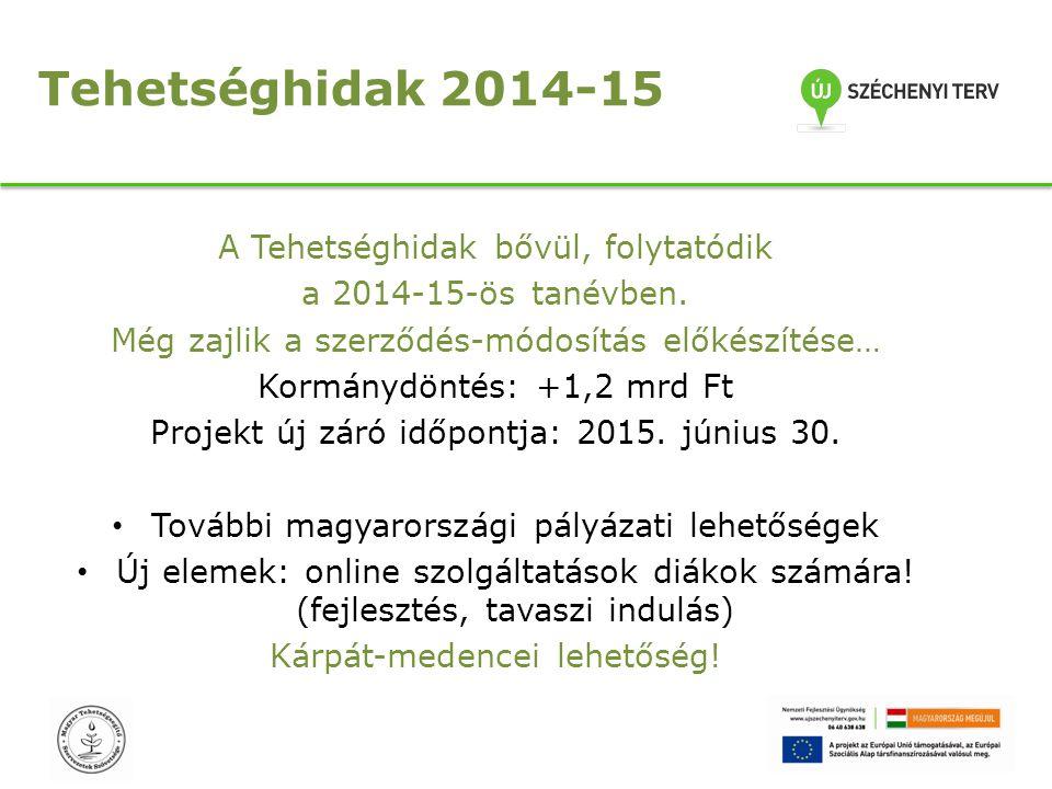 Tehetséghidak 2014-15 A Tehetséghidak bővül, folytatódik