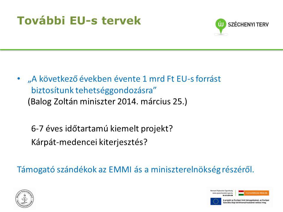 """További EU-s tervek """"A következő években évente 1 mrd Ft EU-s forrást biztosítunk tehetséggondozásra"""