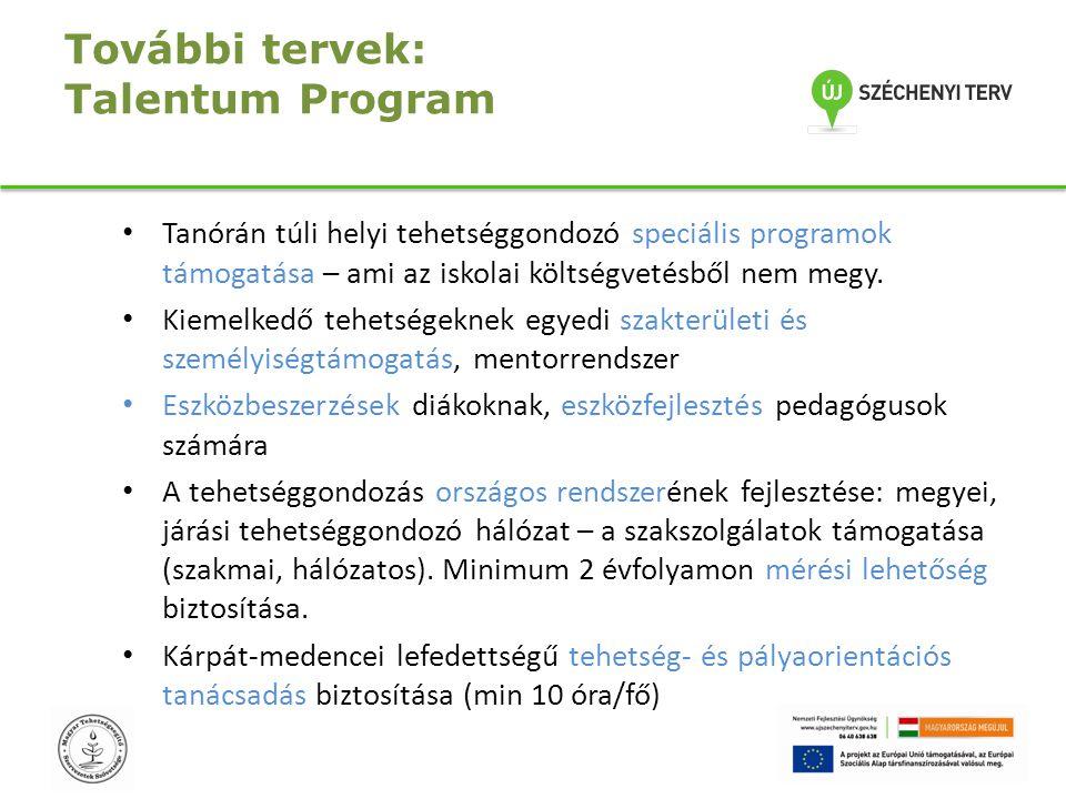 További tervek: Talentum Program