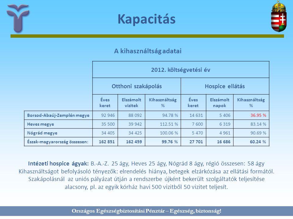 Kapacitás A kihasználtság adatai 2012. költségvetési év