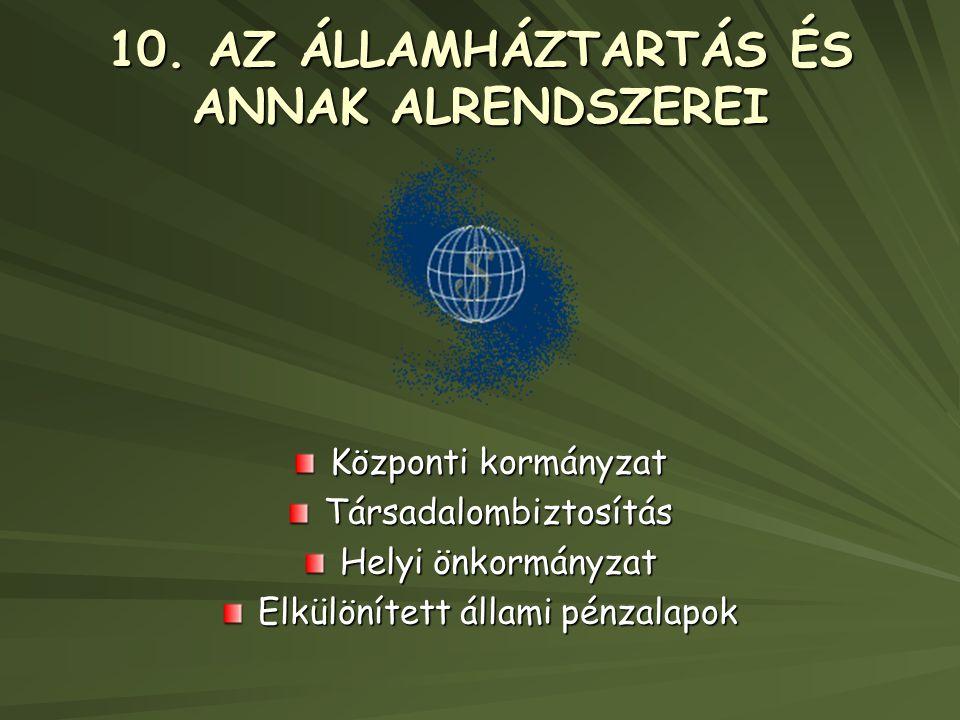 10. AZ ÁLLAMHÁZTARTÁS ÉS ANNAK ALRENDSZEREI