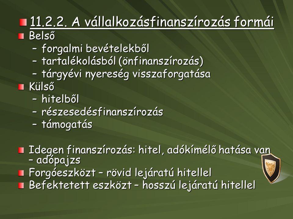 11.2.2. A vállalkozásfinanszírozás formái