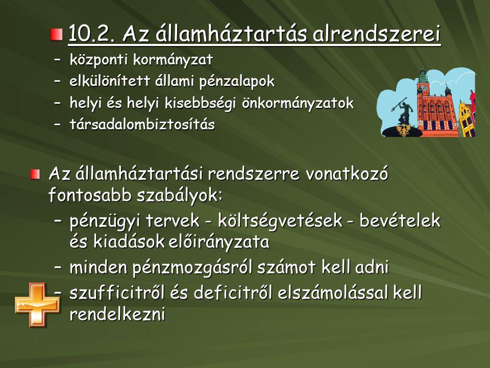 10.2. Az államháztartás alrendszerei