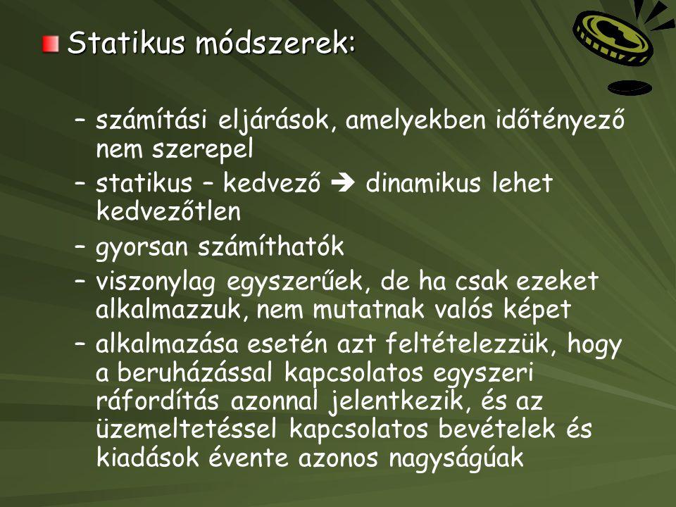 Statikus módszerek: számítási eljárások, amelyekben időtényező nem szerepel. statikus – kedvező  dinamikus lehet kedvezőtlen.