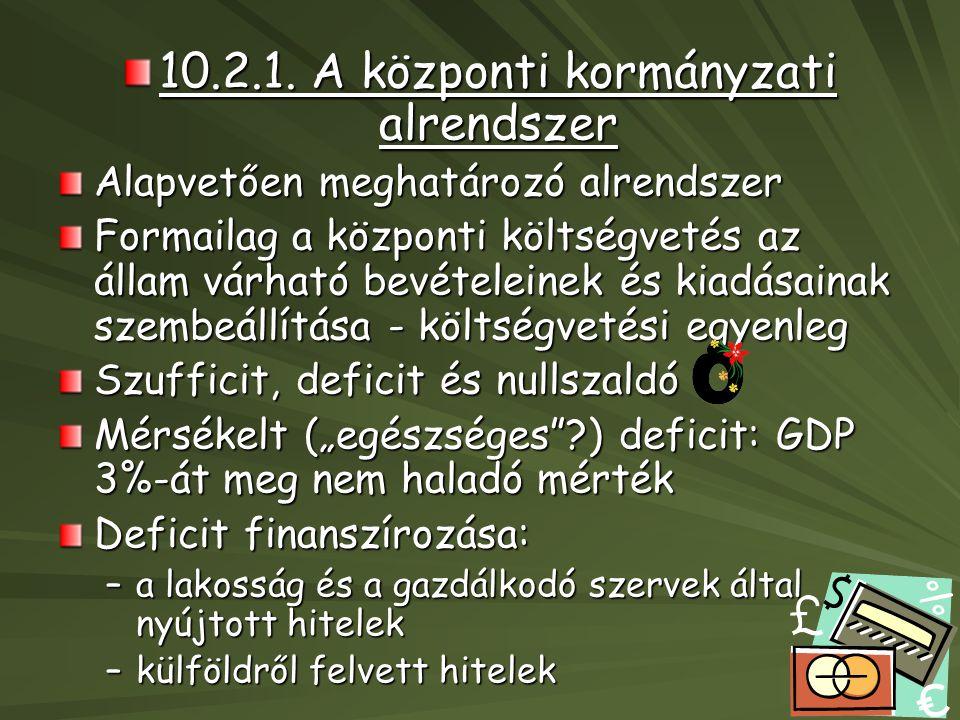 10.2.1. A központi kormányzati alrendszer