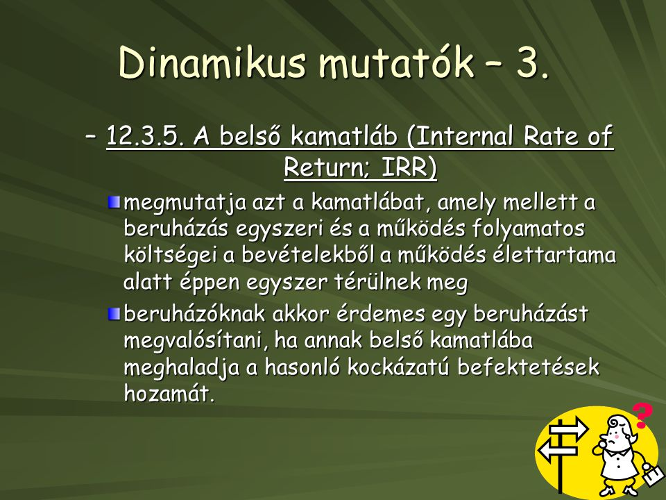 12.3.5. A belső kamatláb (Internal Rate of Return; IRR)