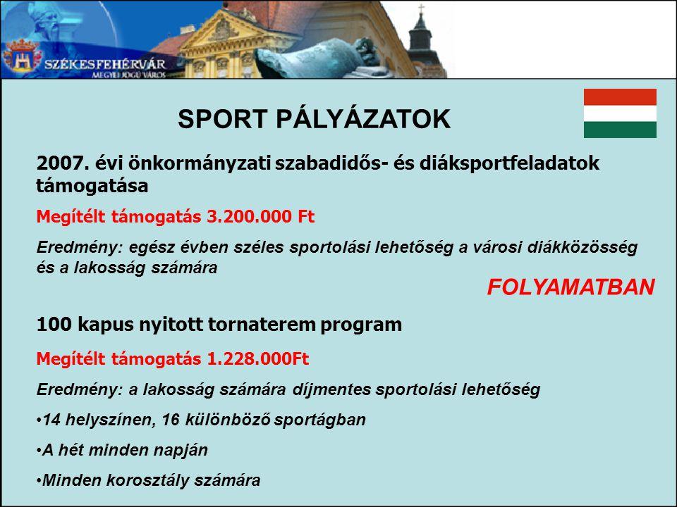 SPORT PÁLYÁZATOK FOLYAMATBAN