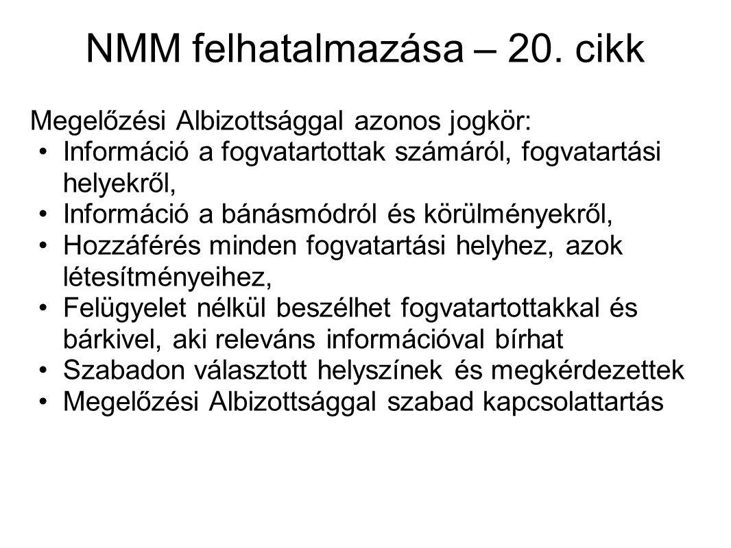 NMM felhatalmazása – 20. cikk