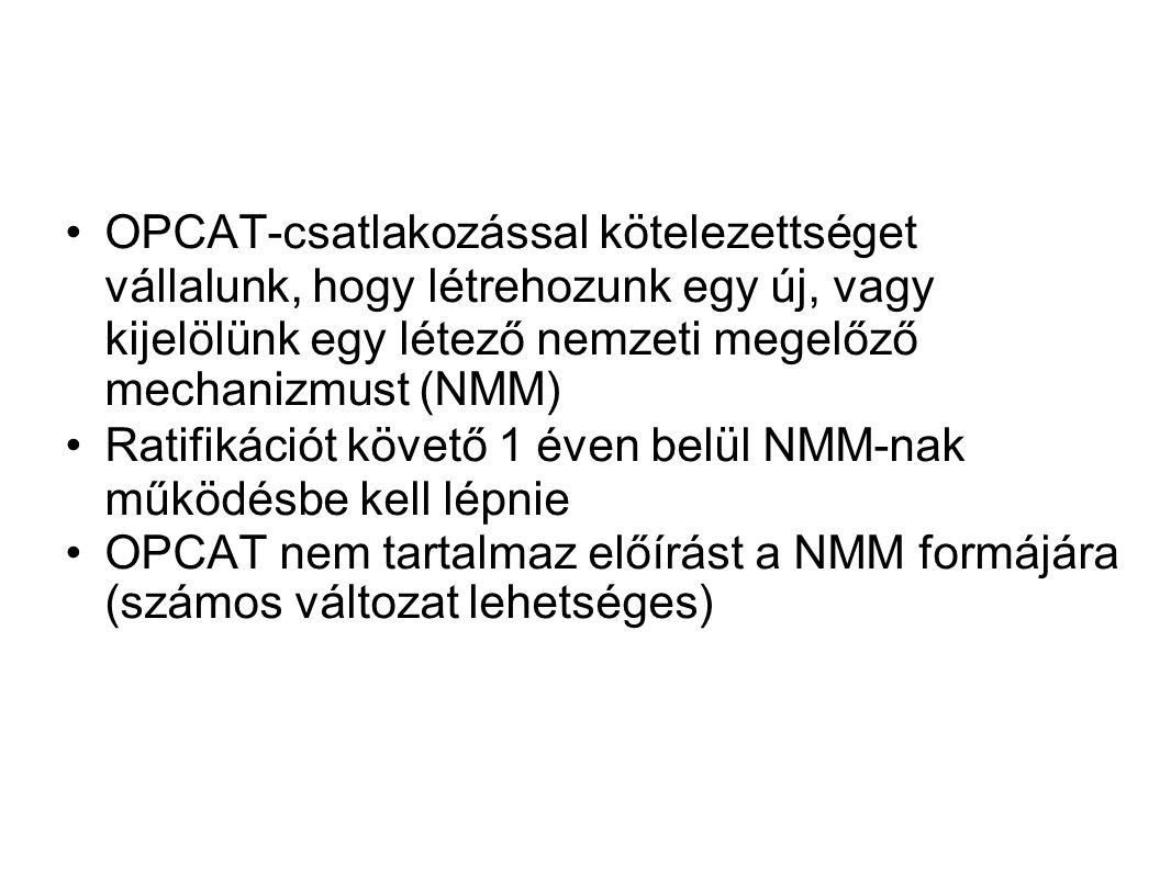 OPCAT-csatlakozással kötelezettséget vállalunk, hogy létrehozunk egy új, vagy kijelölünk egy létező nemzeti megelőző mechanizmust (NMM)