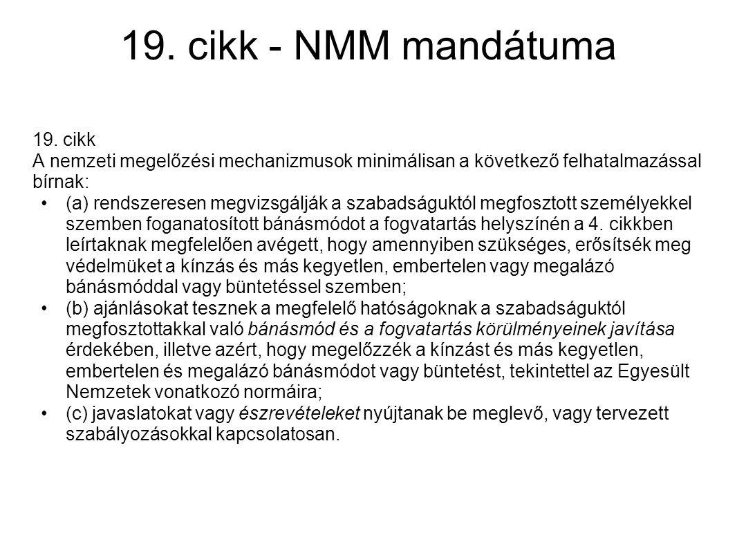 19. cikk - NMM mandátuma 19. cikk
