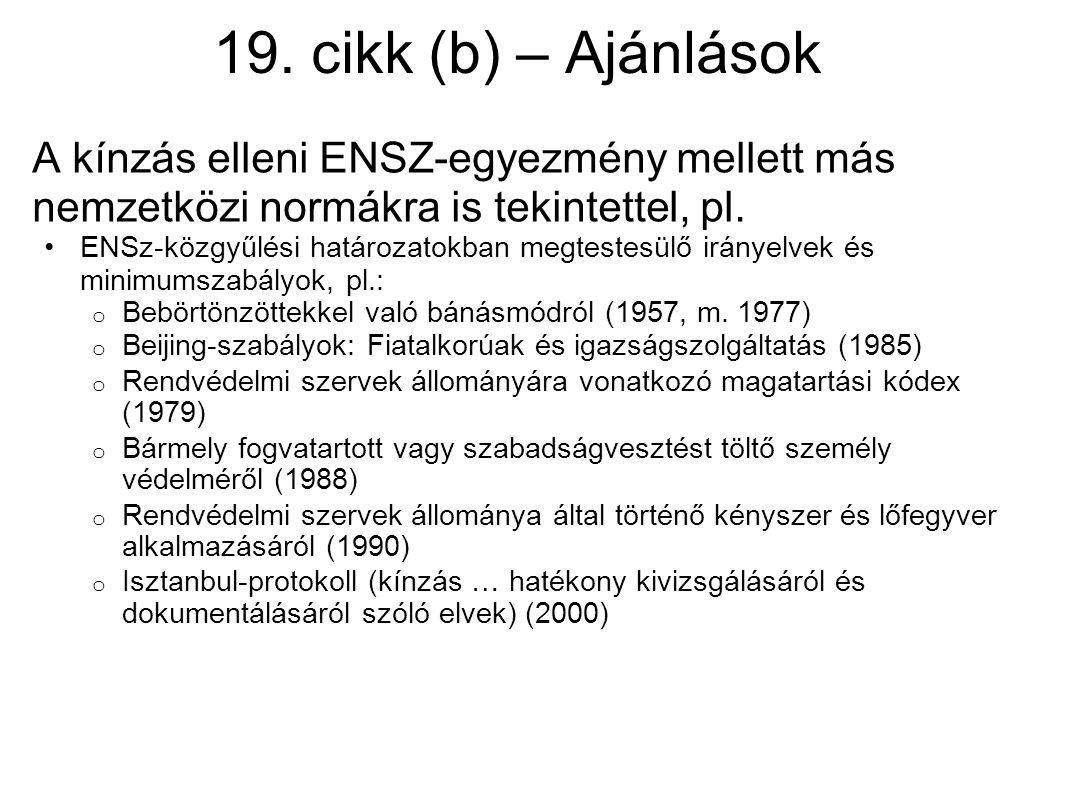 19. cikk (b) – Ajánlások A kínzás elleni ENSZ-egyezmény mellett más nemzetközi normákra is tekintettel, pl.