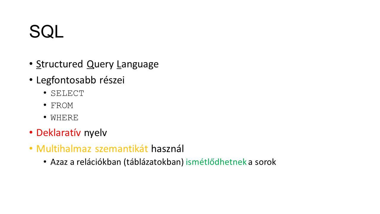 SQL Structured Query Language Legfontosabb részei Deklaratív nyelv