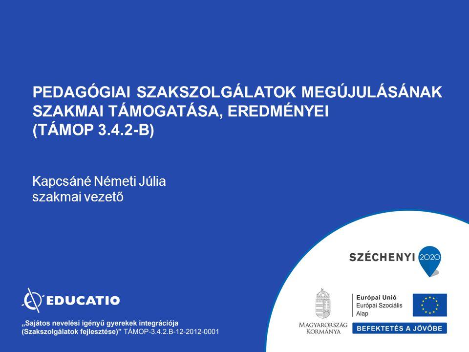 pedagógiai szakszolgálatok megújulásának szakmai támogatása, eredményei (TÁMOP 3.4.2-B) Kapcsáné Németi Júlia szakmai vezető