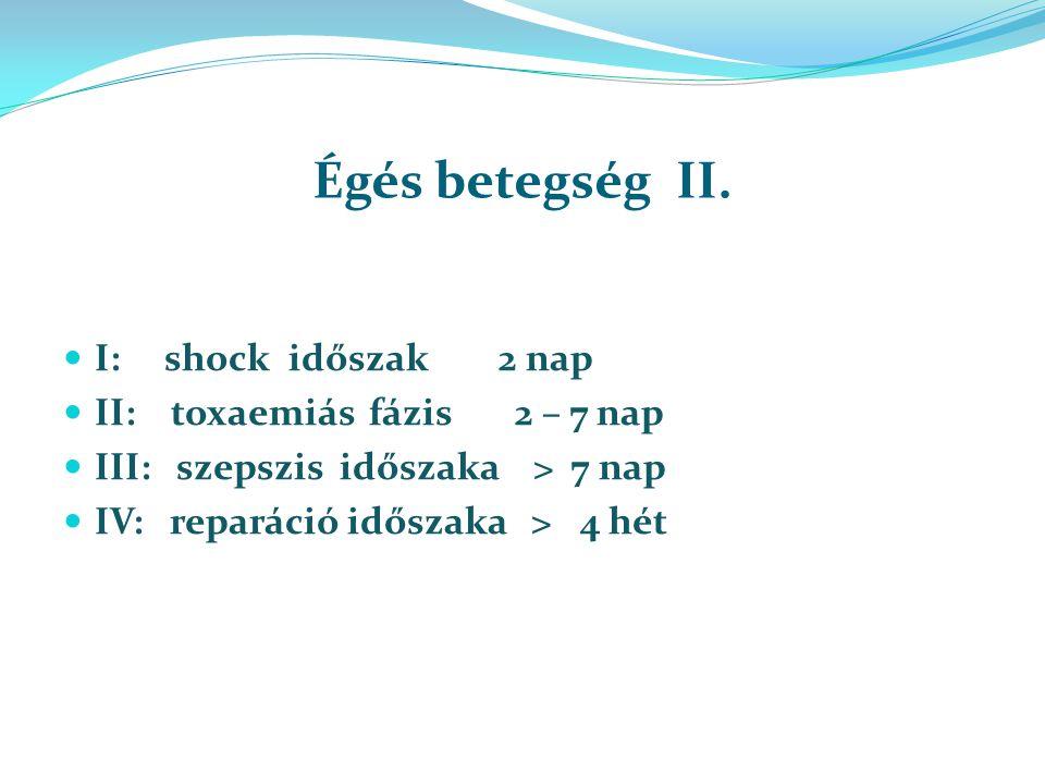 Égés betegség II. I: shock időszak 2 nap II: toxaemiás fázis 2 – 7 nap