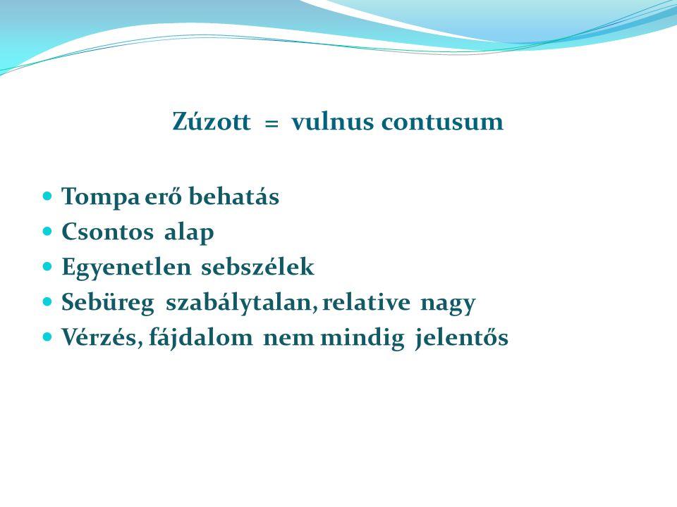 Zúzott = vulnus contusum