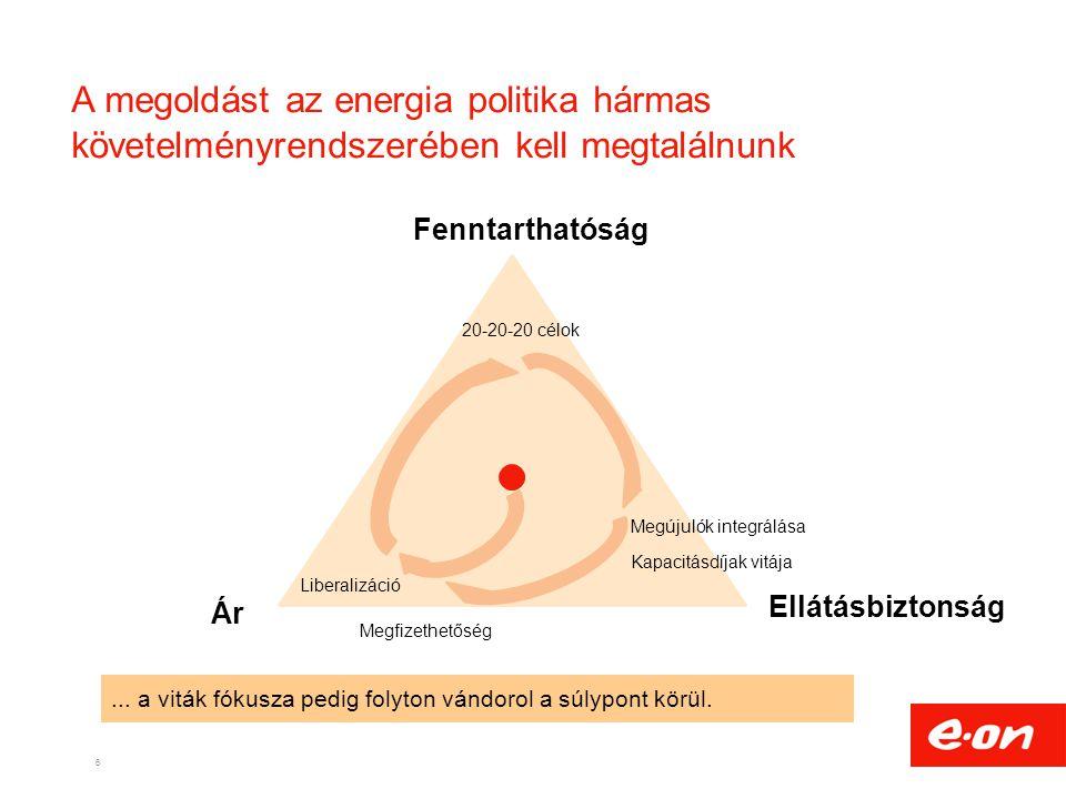 A megoldást az energia politika hármas követelményrendszerében kell megtalálnunk