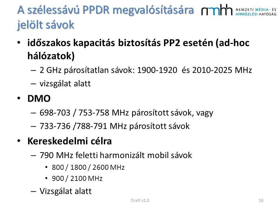 A szélessávú PPDR megvalósítására jelölt sávok