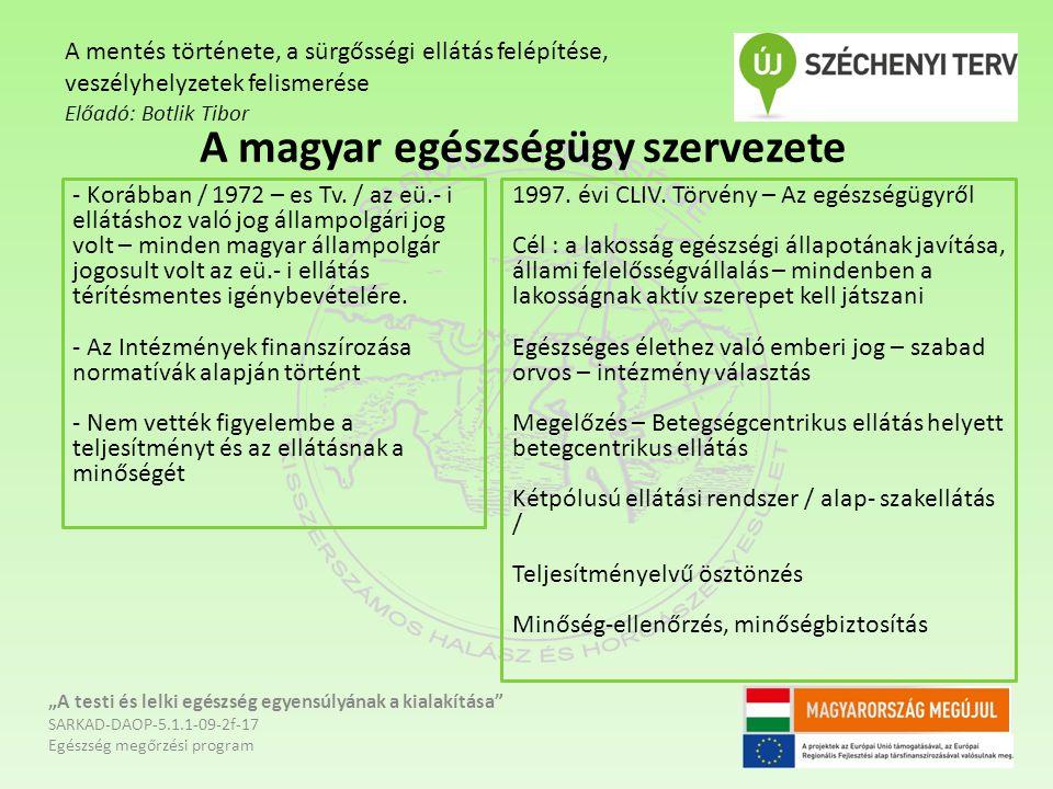 A magyar egészségügy szervezete