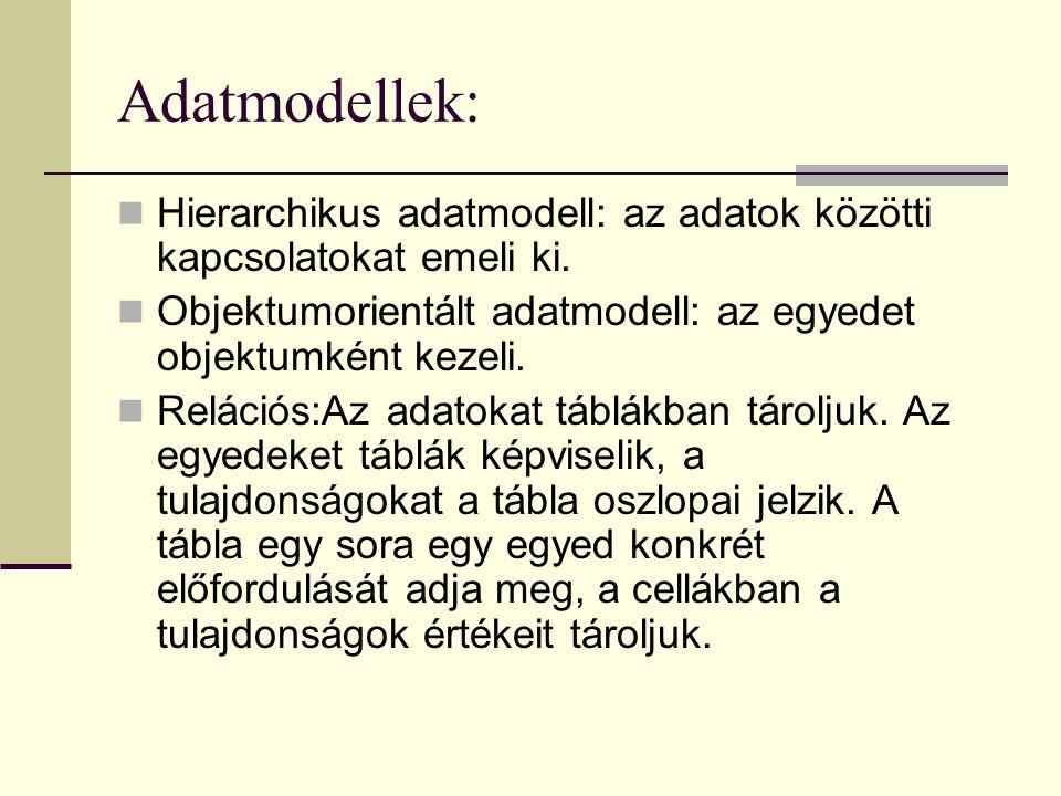 Adatmodellek: Hierarchikus adatmodell: az adatok közötti kapcsolatokat emeli ki. Objektumorientált adatmodell: az egyedet objektumként kezeli.