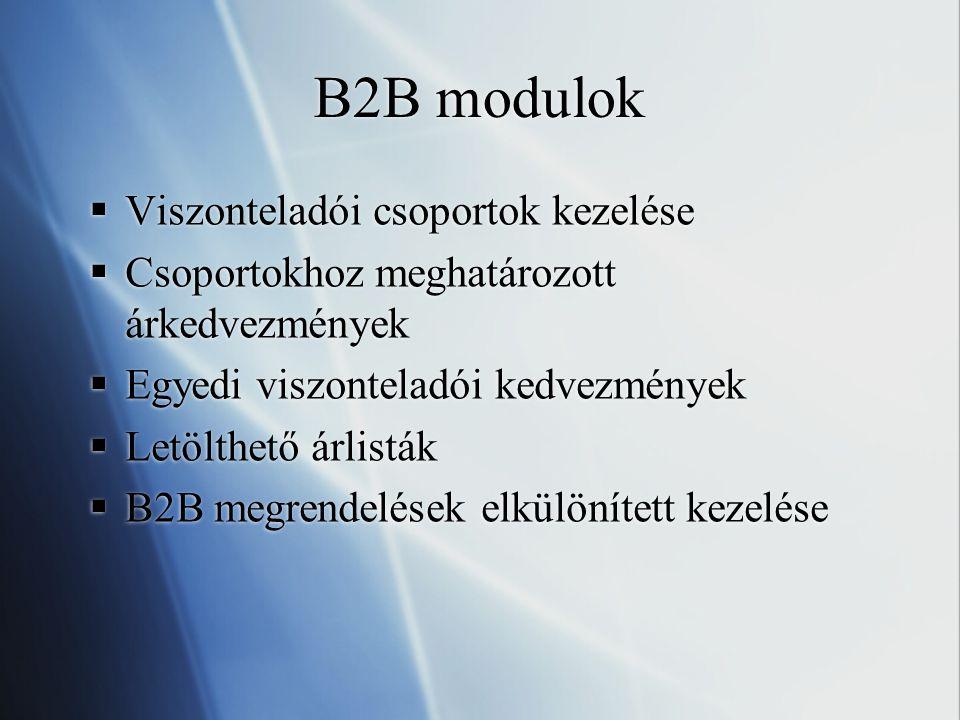 B2B modulok Viszonteladói csoportok kezelése