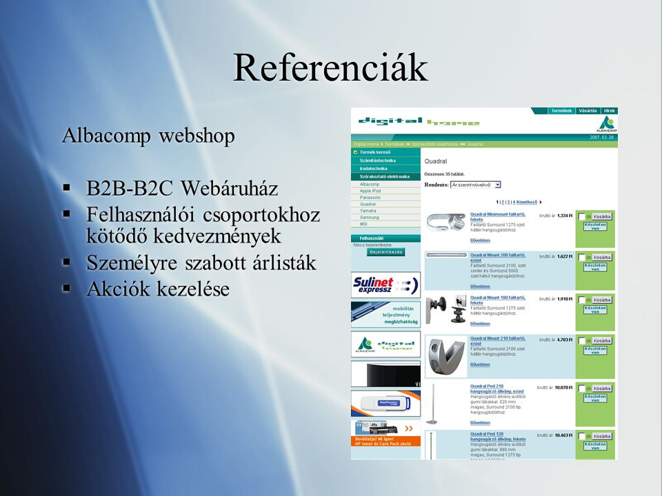 Referenciák Albacomp webshop B2B-B2C Webáruház