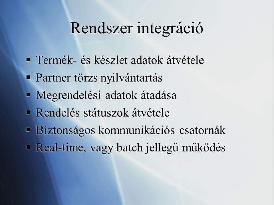 Rendszer integráció Termék- és készlet adatok átvétele