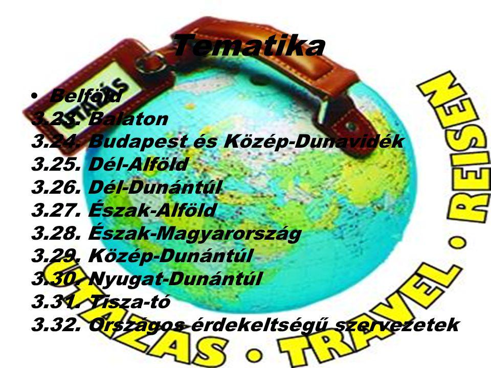 Tematika Belföld 3.23. Balaton 3.24. Budapest és Közép-Dunavidék