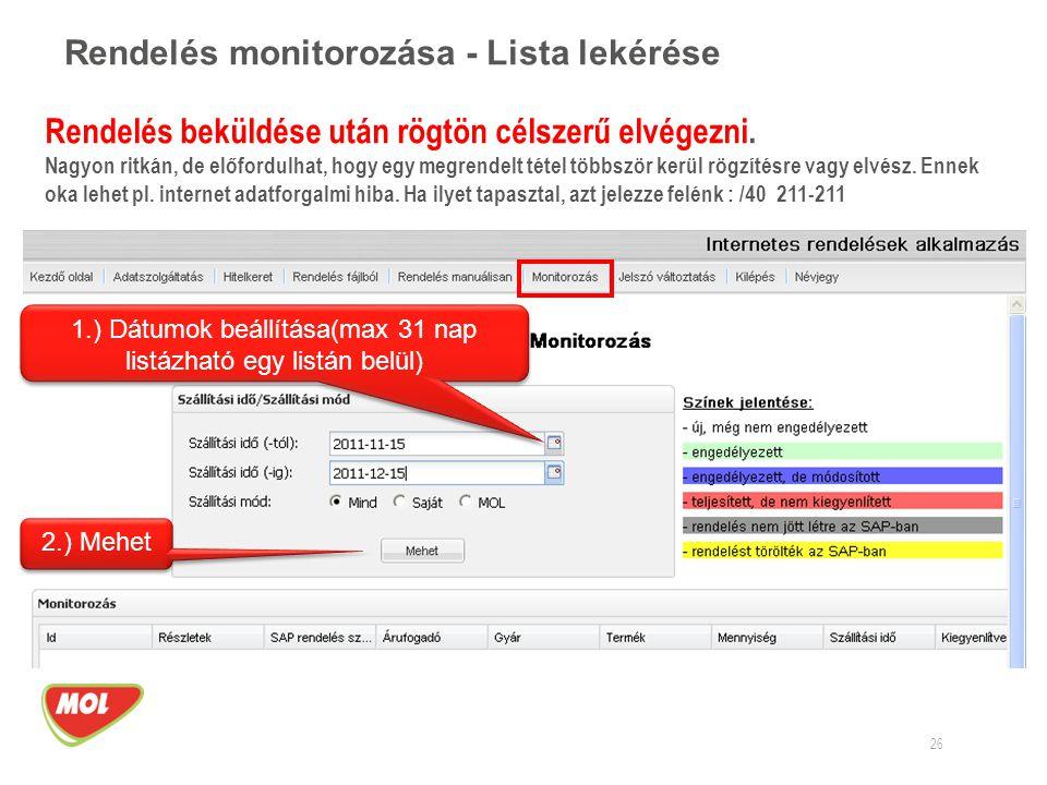 Rendelés monitorozása - Lista lekérése