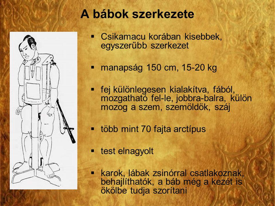 A bábok szerkezete Csikamacu korában kisebbek, egyszerűbb szerkezet