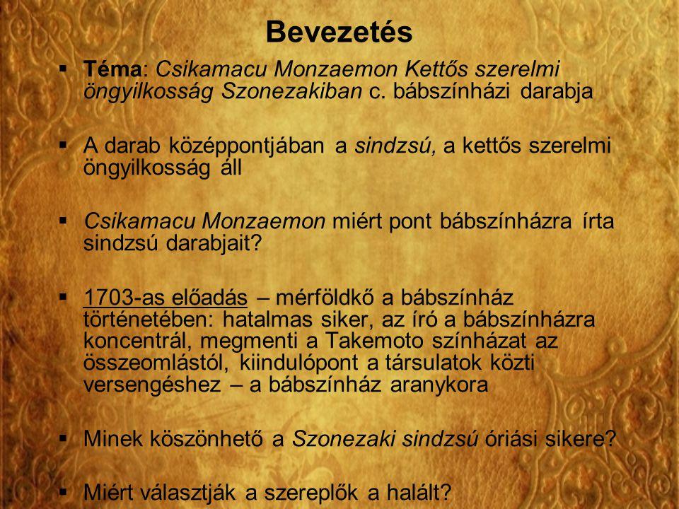 Bevezetés Téma: Csikamacu Monzaemon Kettős szerelmi öngyilkosság Szonezakiban c. bábszínházi darabja.