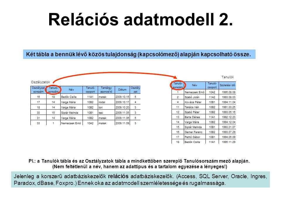 Relációs adatmodell 2. Két tábla a bennük lévő közös tulajdonság (kapcsolómező) alapján kapcsolható össze.