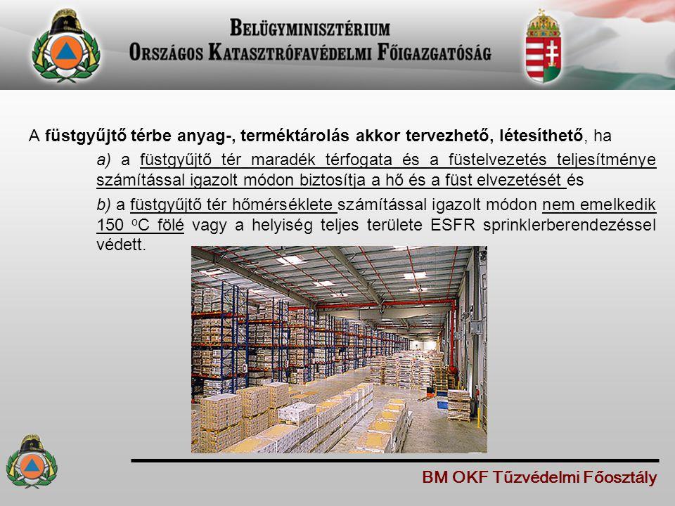 A füstgyűjtő térbe anyag-, terméktárolás akkor tervezhető, létesíthető, ha