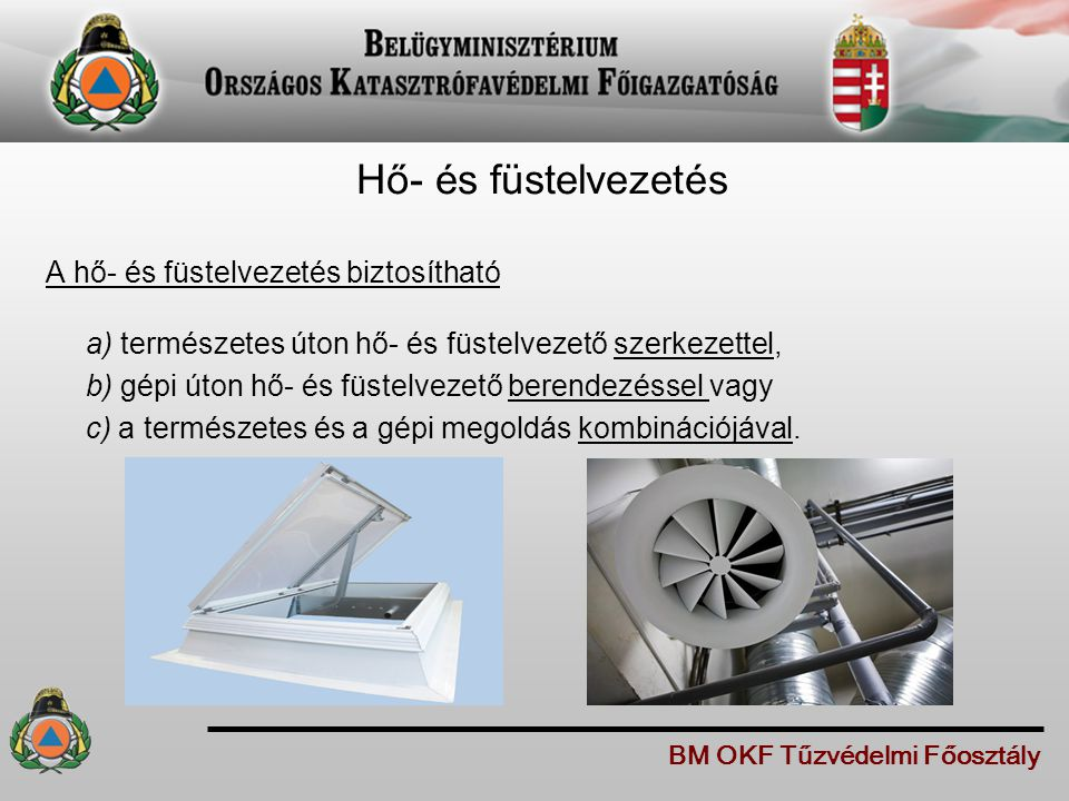 Hő- és füstelvezetés A hő- és füstelvezetés biztosítható