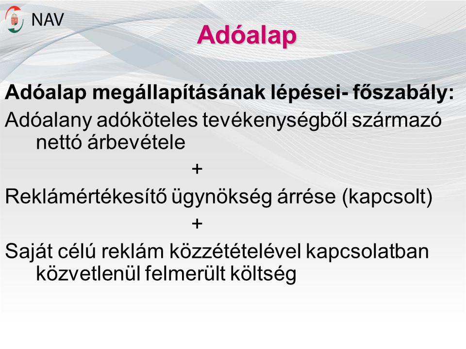 Adóalap Adóalap megállapításának lépései- főszabály: