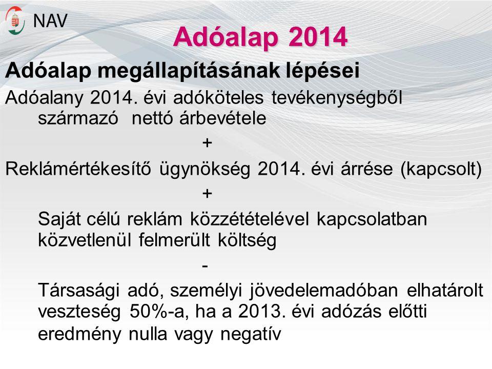 Adóalap 2014 Adóalap megállapításának lépései