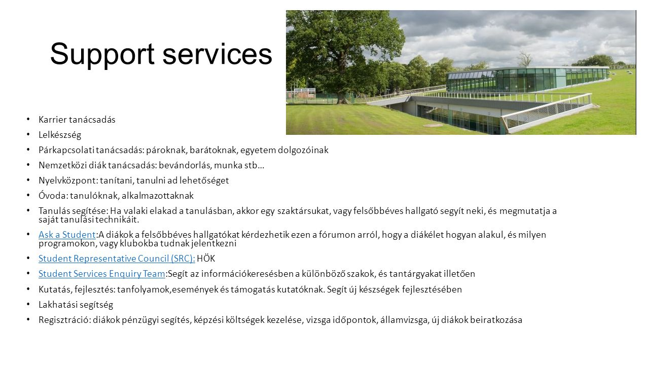 Support services Karrier tanácsadás Lelkészség
