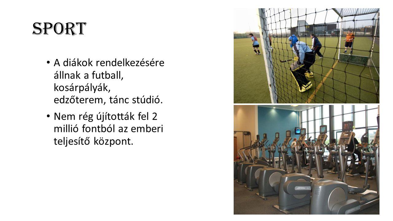 Sport A diákok rendelkezésére állnak a futball, kosárpályák, edzőterem, tánc stúdió.