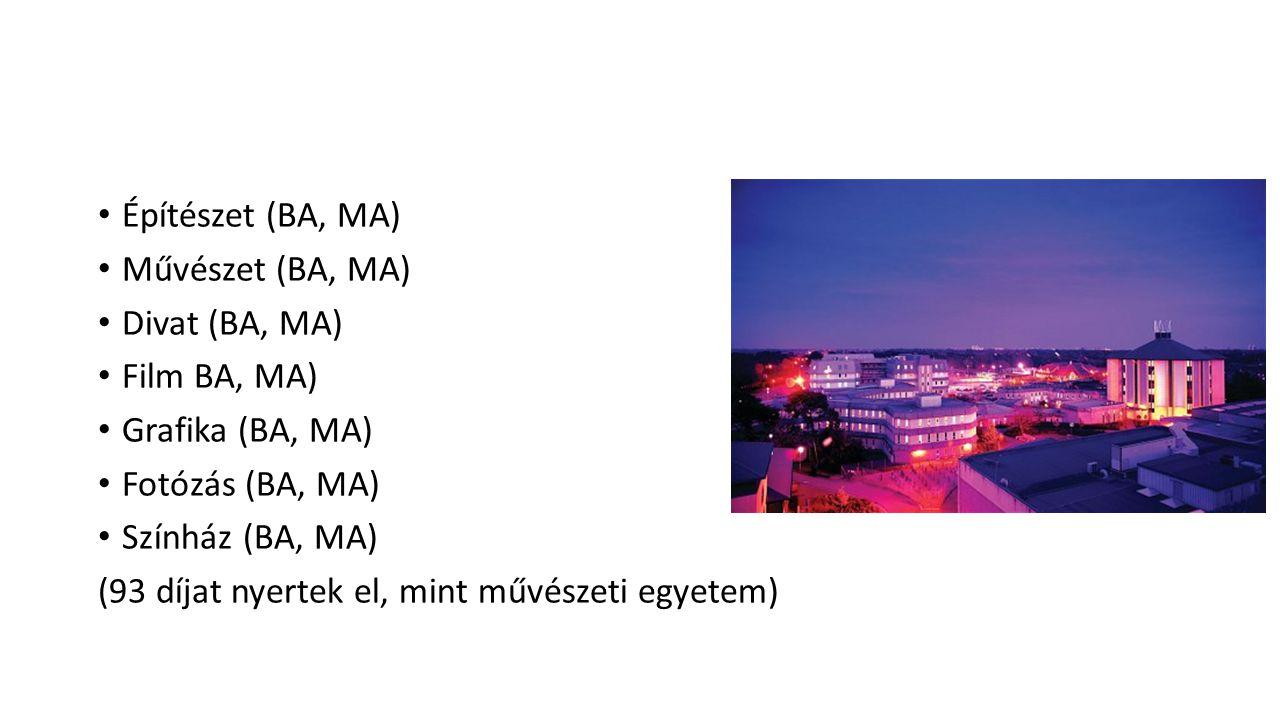 Építészet (BA, MA) Művészet (BA, MA) Divat (BA, MA) Film BA, MA) Grafika (BA, MA) Fotózás (BA, MA)