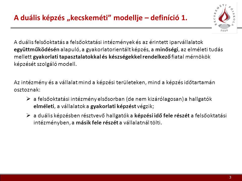 """A duális képzés """"kecskeméti modellje – definíció 1."""