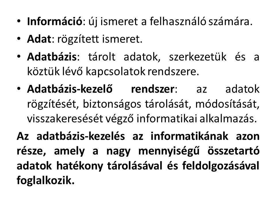 Információ: új ismeret a felhasználó számára.