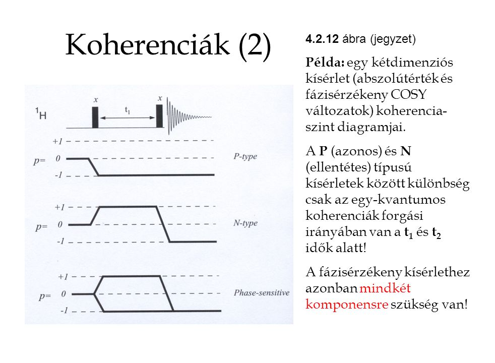 Koherenciák (2) 4.2.12 ábra (jegyzet) Példa: egy kétdimenziós kísérlet (abszolútérték és fázisérzékeny COSY változatok) koherencia-szint diagramjai.