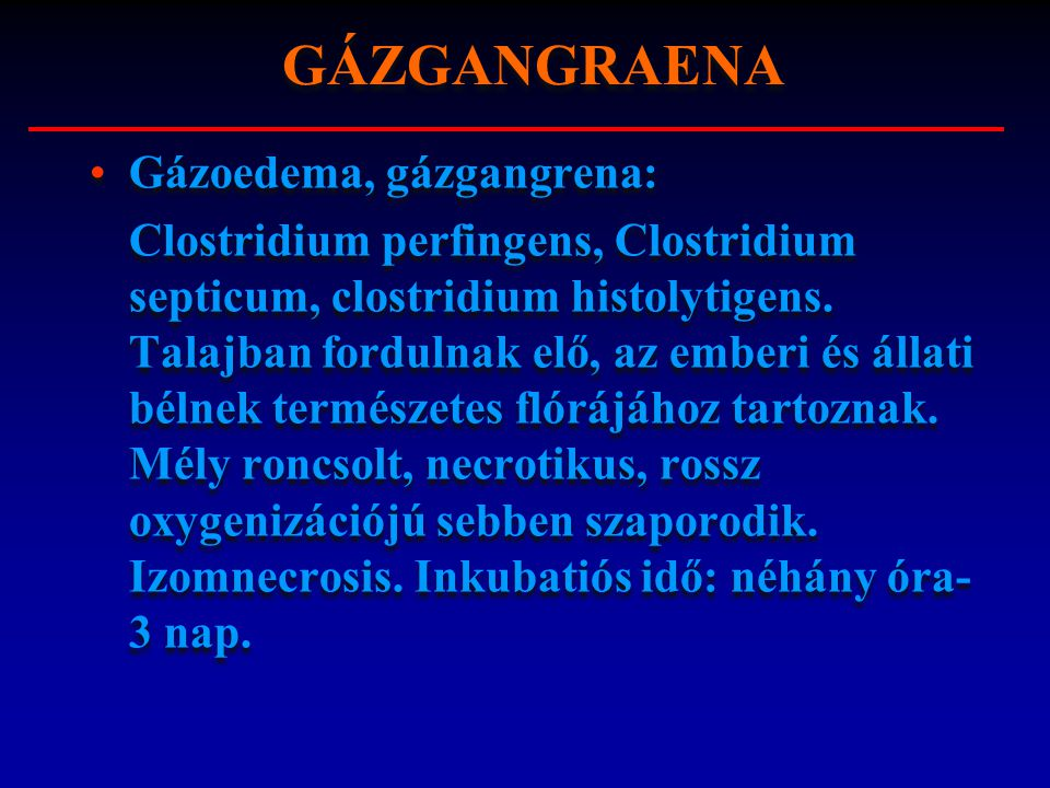 GÁZGANGRAENA Gázoedema, gázgangrena: